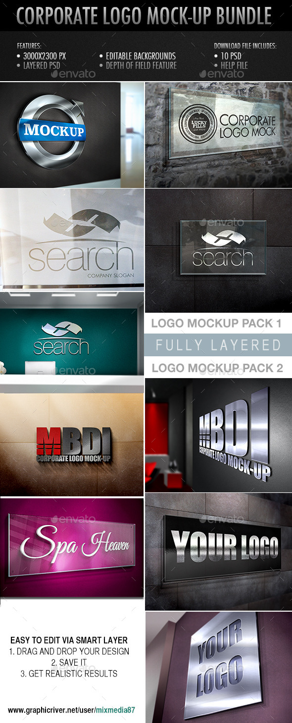 GraphicRiver Corporate Logo Mockup Bundle 8888375