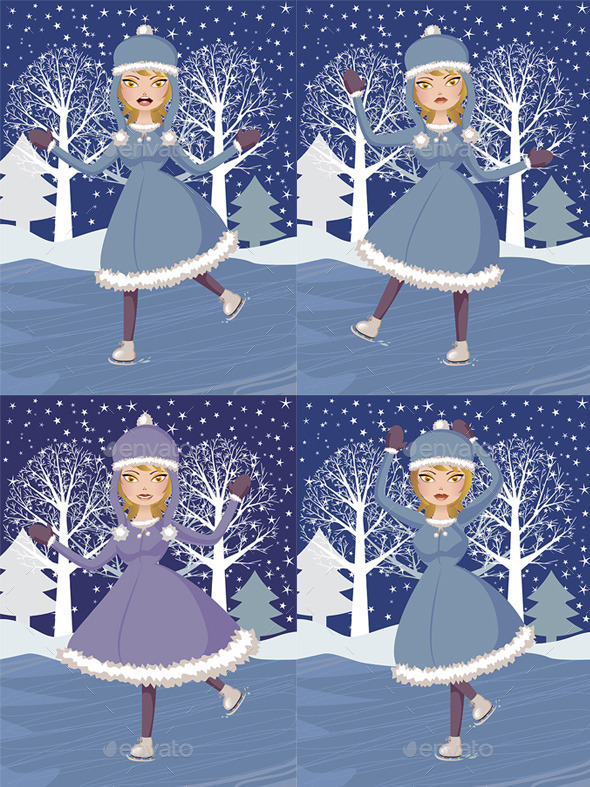 GraphicRiver Winter Skating Girl 8902379