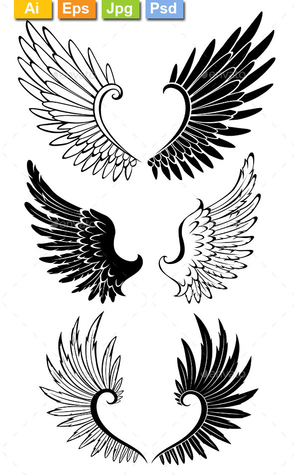 GraphicRiver Set of Wings for Tattoo 8904522