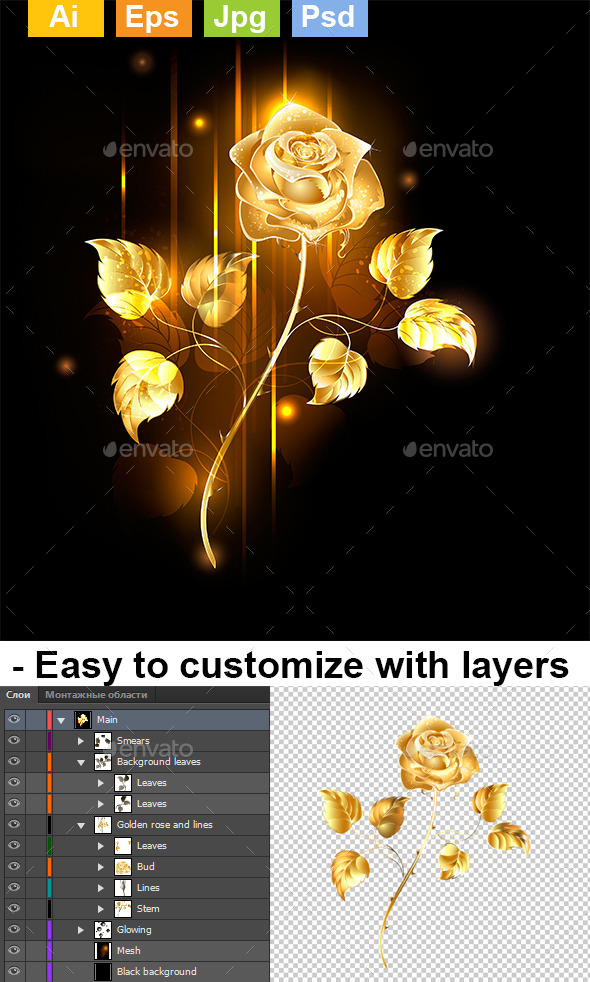 GraphicRiver Golden Rose 8904533
