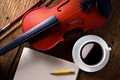 coffee cup with violin - PhotoDune Item for Sale
