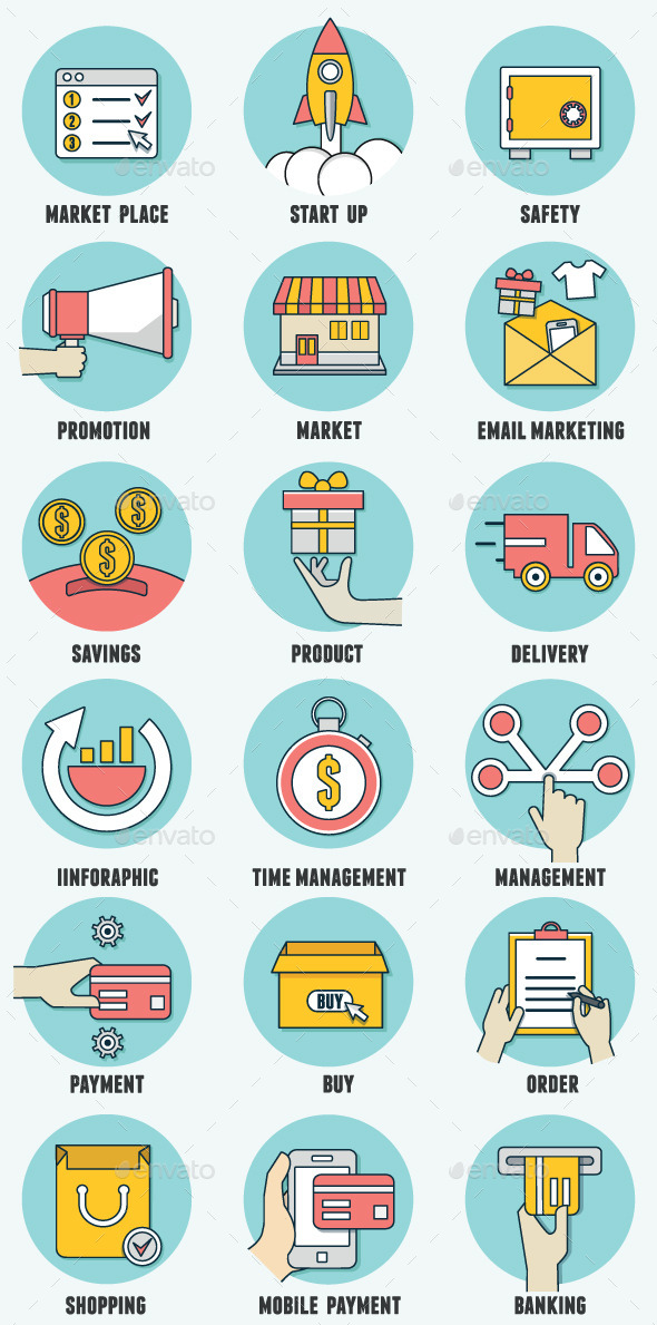 GraphicRiver Set of Business Icons 8892254