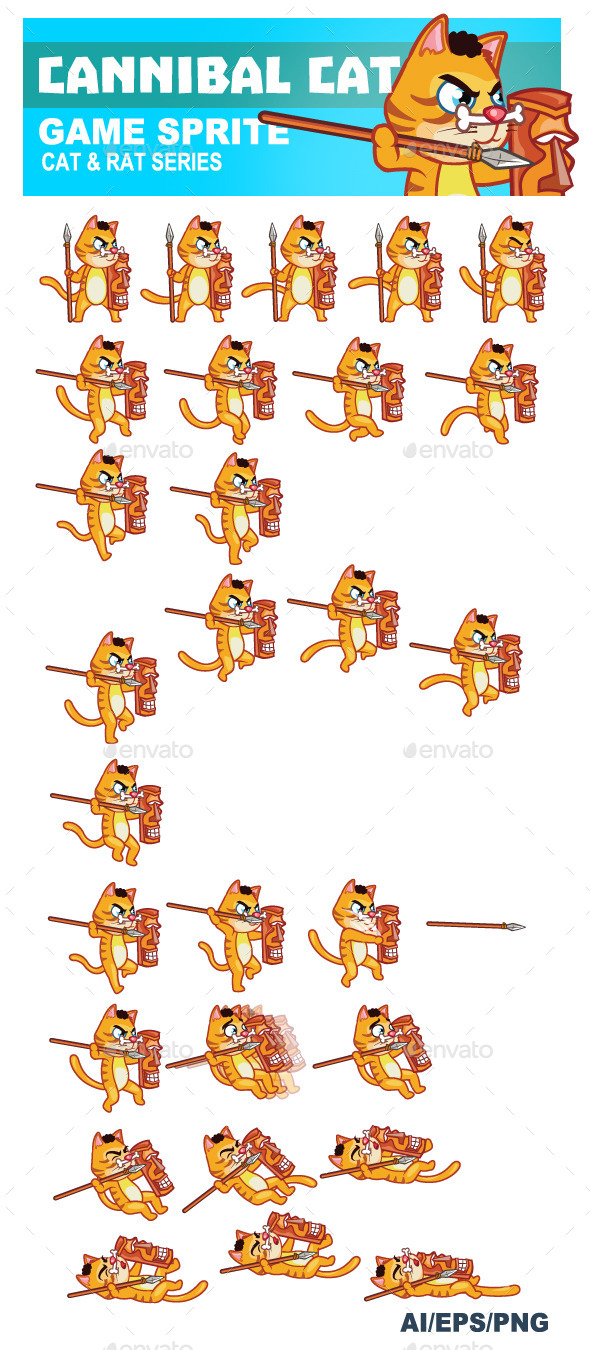 GraphicRiver Cannibal Cat Game Sprite 8905429