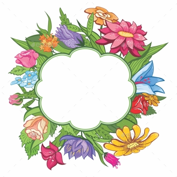 GraphicRiver Bright Flower Frame 8905492