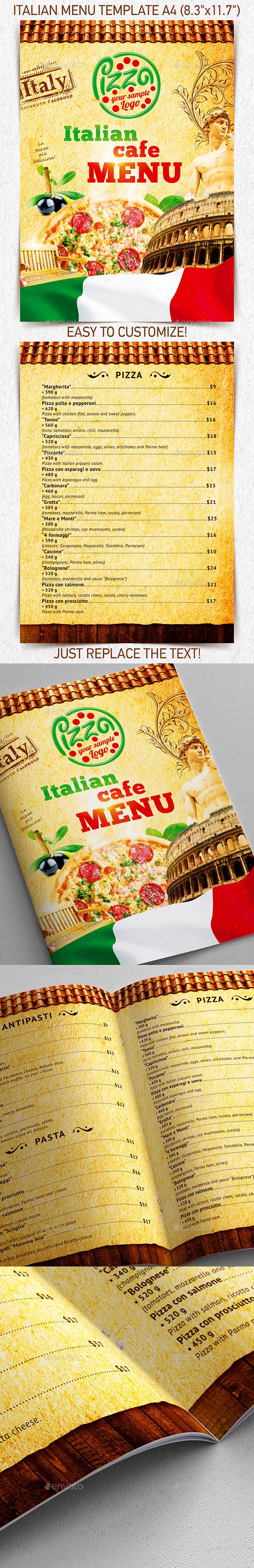 Italian Menu Template vol.2 - Food Menus Print Templates