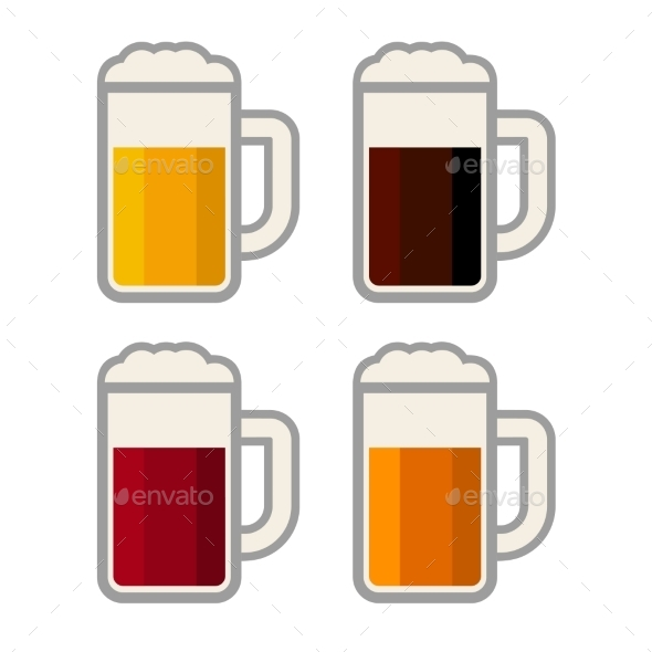 GraphicRiver Four Glasses with Different Color Beers on White B 8905901