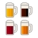 Four Glasses with Different Color Beers on White B - GraphicRiver Item for Sale