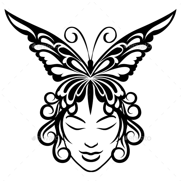 GraphicRiver Woman Face with Butterfly Hairdress 8906324