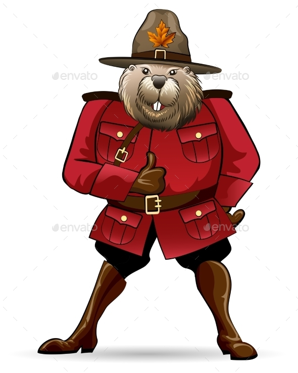 GraphicRiver Beaver in Canadian Ranger Suit 8906338