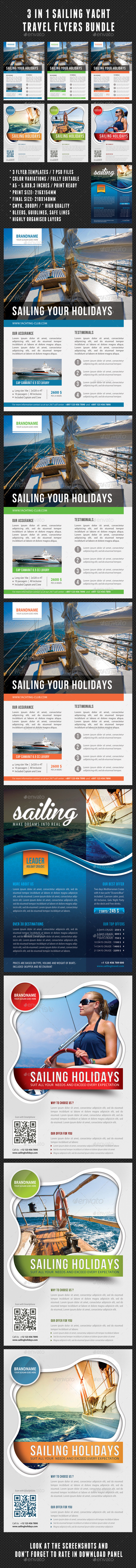 GraphicRiver 3 in 1 Sailing Yacht Travel Flyers Bundle 8906600