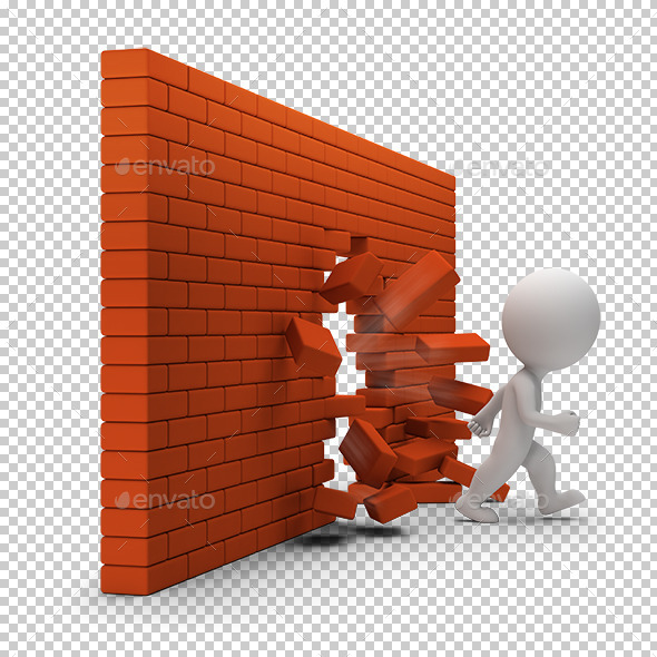GraphicRiver 3D Small People Through a Brick Wall 8907156