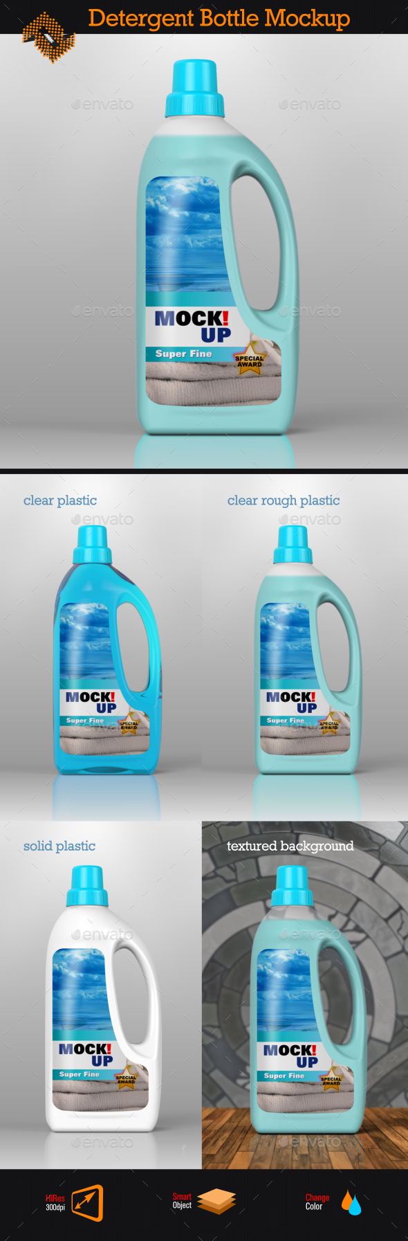 GraphicRiver Detergent Bottle Softener Bottle Mockup 8907159