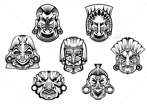 GraphicRiver Ancient Tribal Religious Masks 8907491