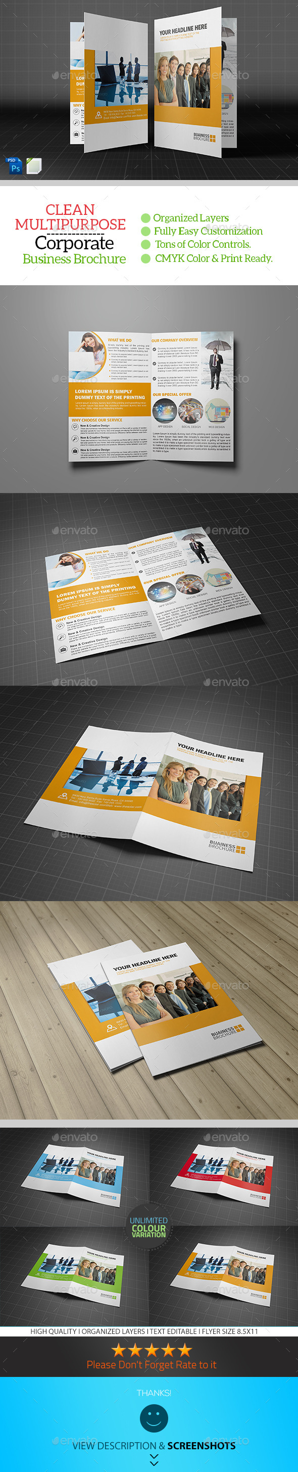 GraphicRiver Corporate Bifold Brochure Template Vol01 8907523