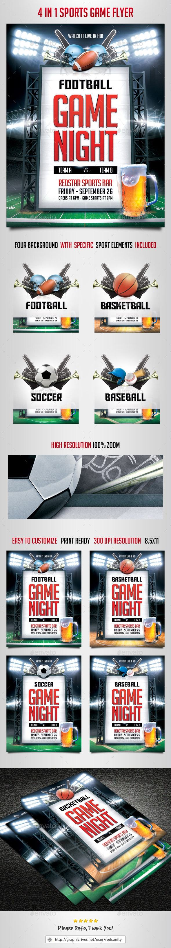 GraphicRiver 4 in 1 Sports Game Flyer 8907617