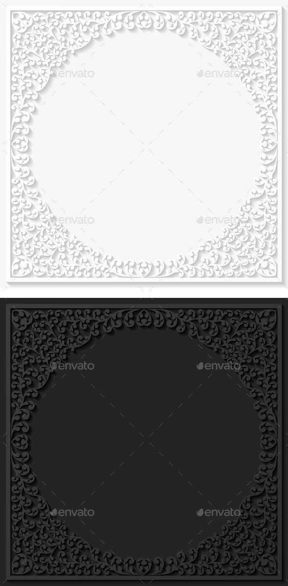 GraphicRiver Set of Paper Floral Frames 8907802