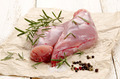 raw rabbit leg on brown paper - PhotoDune Item for Sale