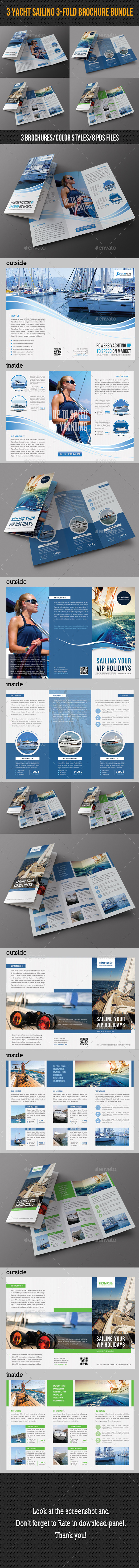 GraphicRiver 3 in 1 Sailing Travel Trifold Brochure Bundle 8909951