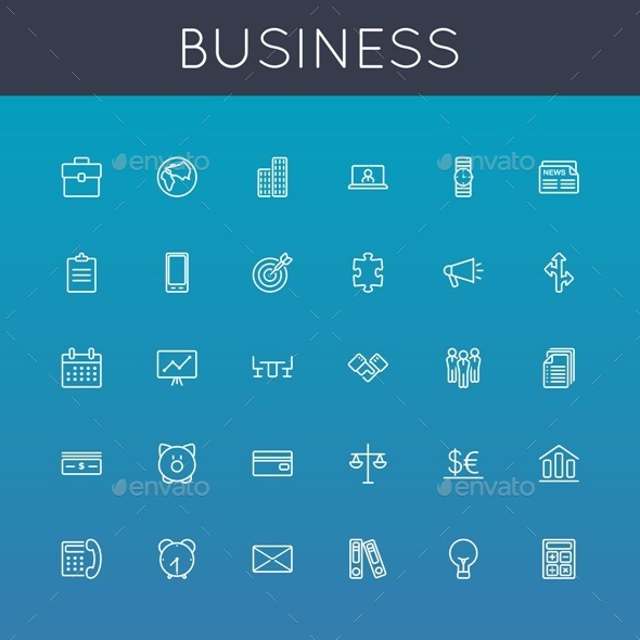GraphicRiver Vector Business Line Icons 8910584