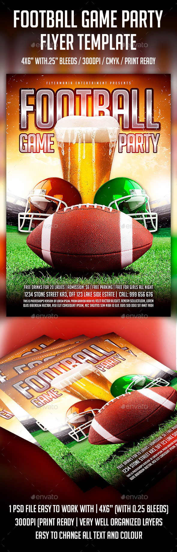 football game event flyer stock photos graphics. Black Bedroom Furniture Sets. Home Design Ideas
