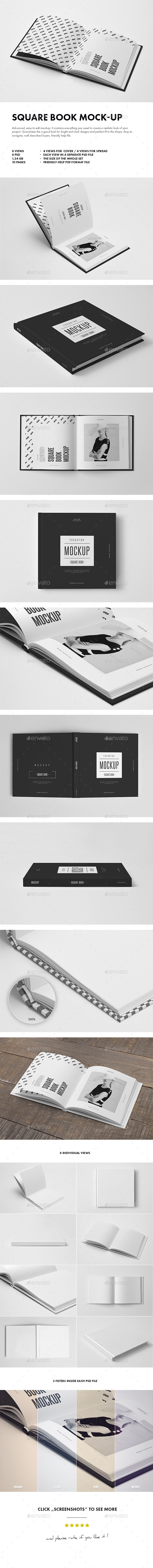 GraphicRiver Square Book Mock-up 8911213
