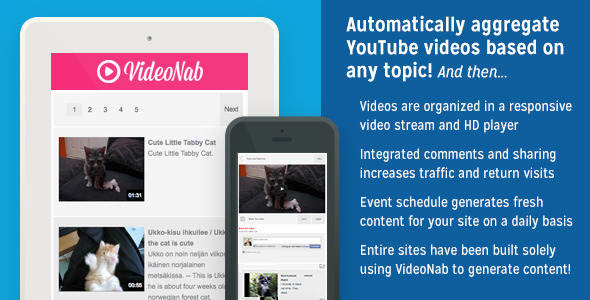 CodeCanyon VideoNab Aggregate YouTube Videos by Any Topic 8911281