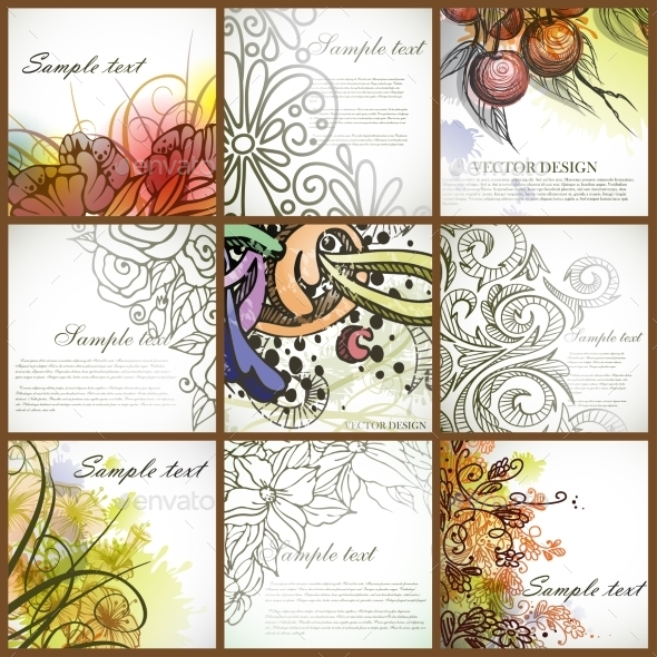 GraphicRiver Set Of Floral Backgrounds 8911282
