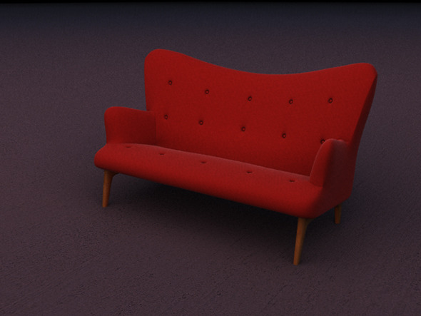Contemporary design two seat red velvet sofa