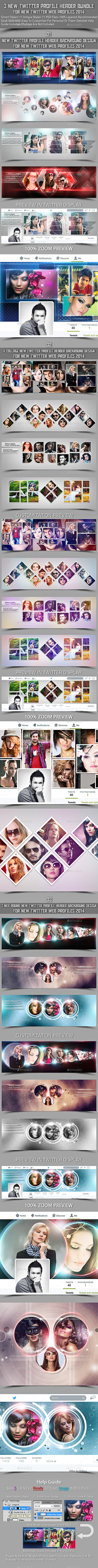 GraphicRiver 3 New Twitter Profile Header Bundle 8911405