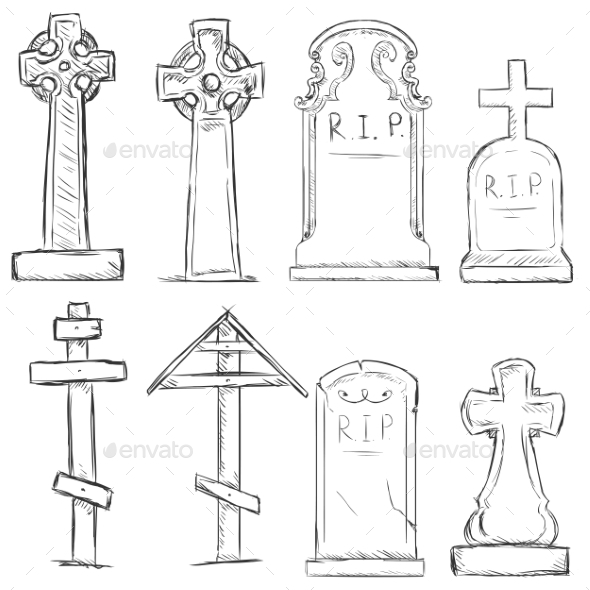 GraphicRiver Vector Set of Sketch Cemetery Tombstones 8911840