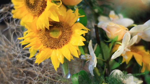 Sunflower With Candles Decoration Pack of 2