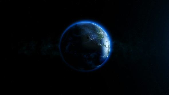 Planet Earth in the Night Rotating