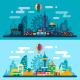 Vector Flat Night and Day City Landscape. - GraphicRiver Item for Sale
