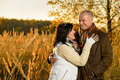 Couple in love hugging in autumn sunset - PhotoDune Item for Sale