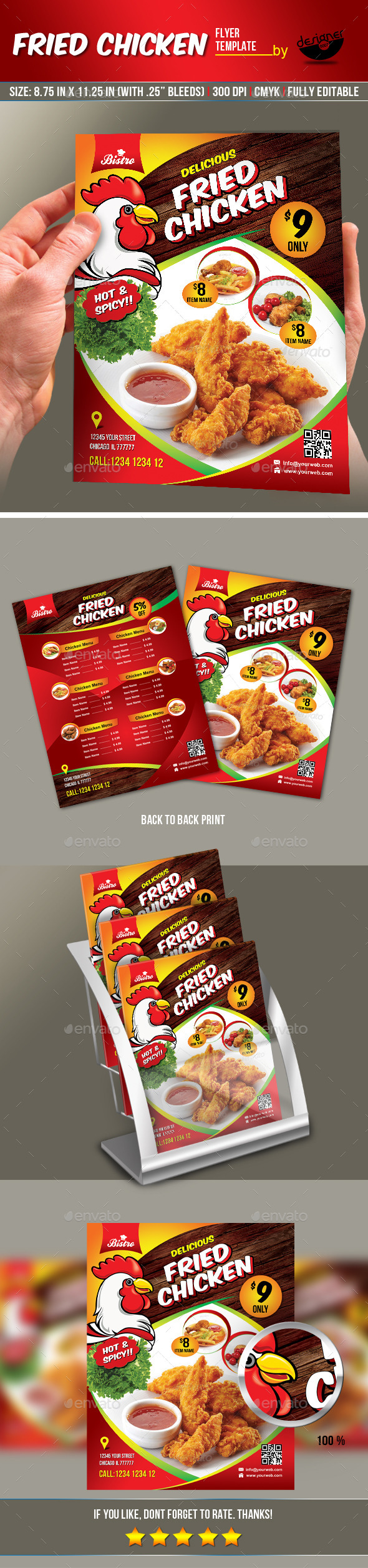 GraphicRiver Fried Chicken Flyer & Manu Card 8913175