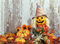 Cute scarecrow surrounded by autumn decorations - PhotoDune Item for Sale