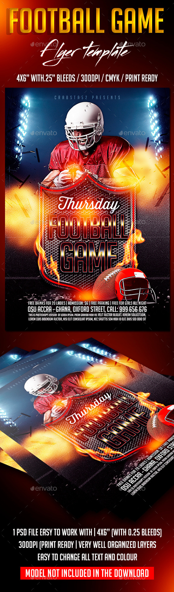 GraphicRiver Football Game Flyer Template 8913205