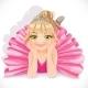Ballerina Girl in Pink Dress Lie on Floor - GraphicRiver Item for Sale