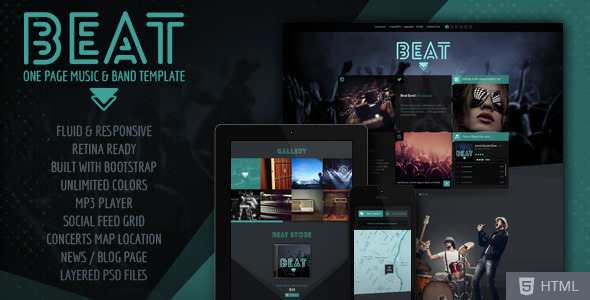 Beat -  One-Page HTML5 Music & Band Template - Music and Bands Entertainment