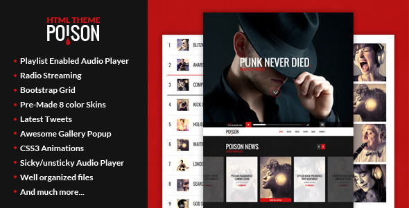 ThemeForest Poison Music HTML One Page Template 8888099