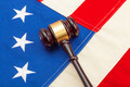 Wooden judge gavel over US flag - closeup shoot - PhotoDune Item for Sale