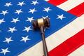 Wooden judge gavel over USA flag - closeup shoot - PhotoDune Item for Sale