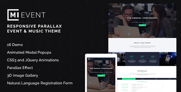 ThemeForest MiEvent- Responsive Parallax Event & Music Theme 8913949