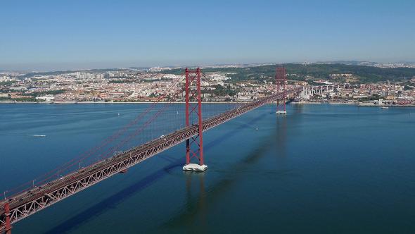 Top View on the 25 de Abril Bridge in Lisbon 848