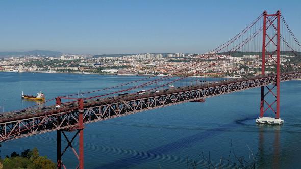 Top View on the 25 de Abril Bridge in Lisbon 849