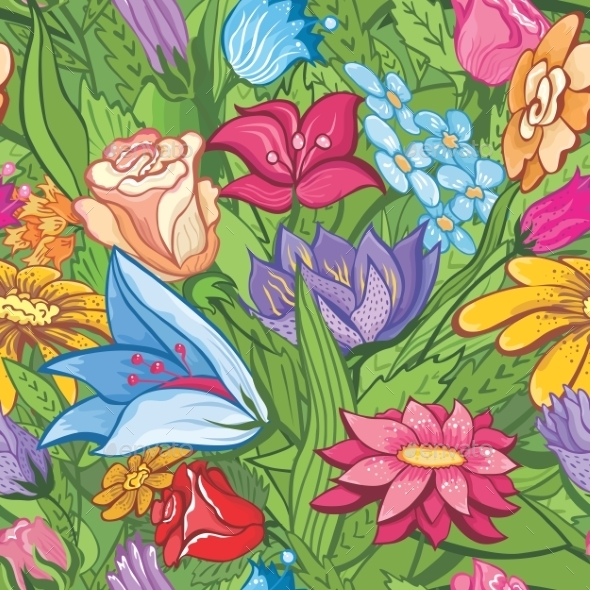 GraphicRiver Vintage Bright Floral Pattern 8915018