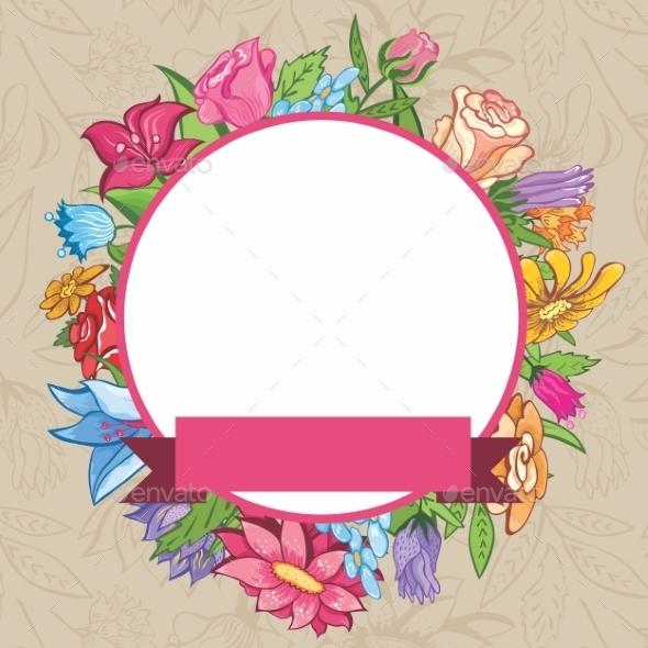 GraphicRiver Vector Vintage Flower Frame 8915028