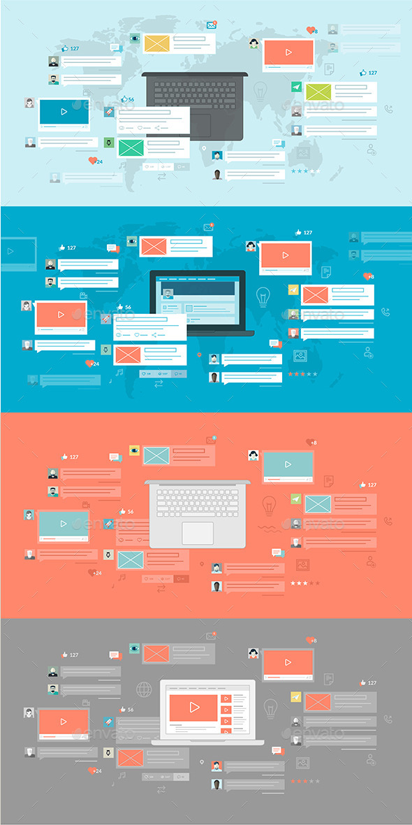 GraphicRiver Set of Flat Design Concepts for Social Network 8915159