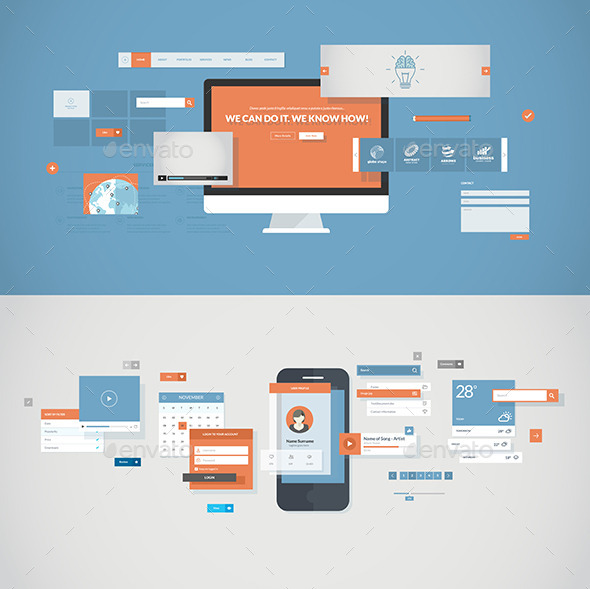 GraphicRiver Flat Design Concepts for Mobile App and Website 8915242