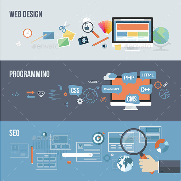 GraphicRiver Set of Flat Design Concepts for Web Development 8915349